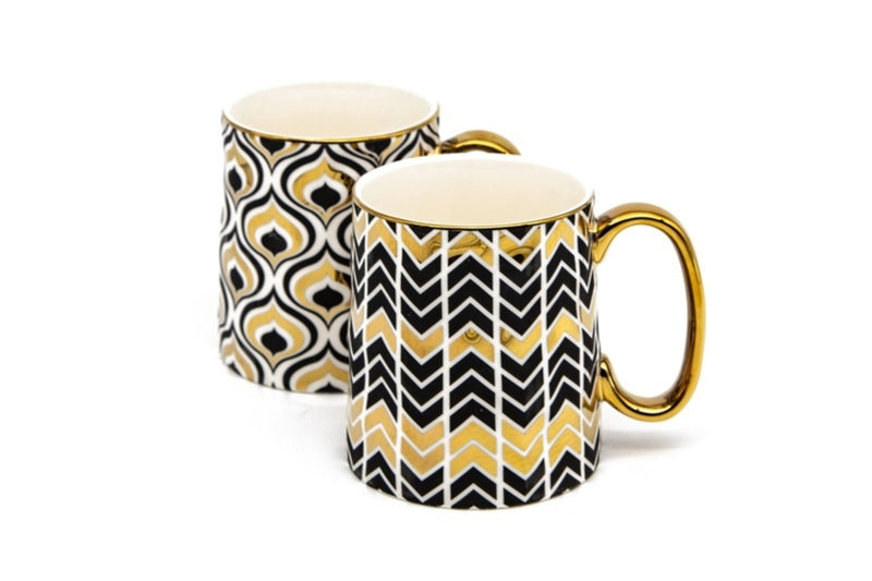 Black and Gold Mugs - Set of 2