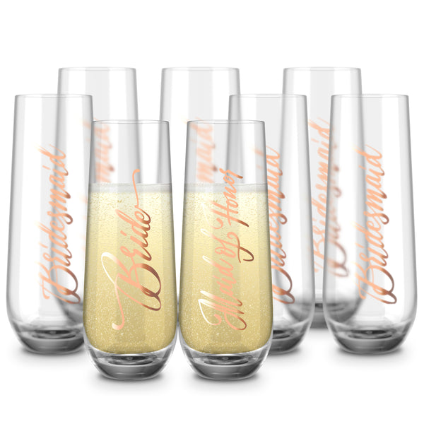 Bridal Stemless Champagne Flutes, 10.5 Oz, Set of 8