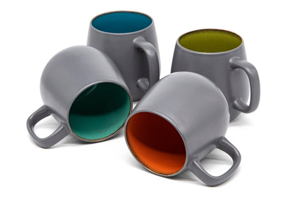 Deco Coffee Mugs, 21 oz, Set of 4