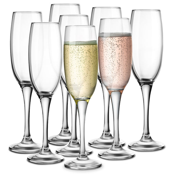 Stemmed Champagne Flutes, 7 oz, Set of 8-Glass & Bar-Kook-kook