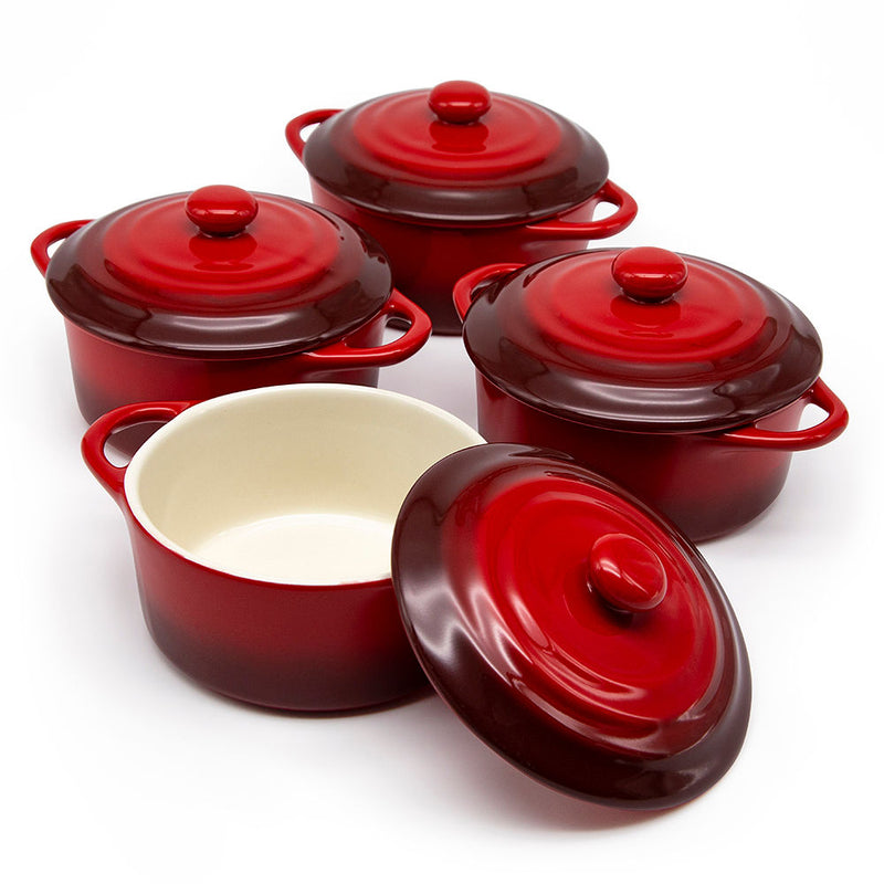Mini Casserole Dishes, 12 oz, Set of 4-Cook-Kook-Crimson Ombre-kook