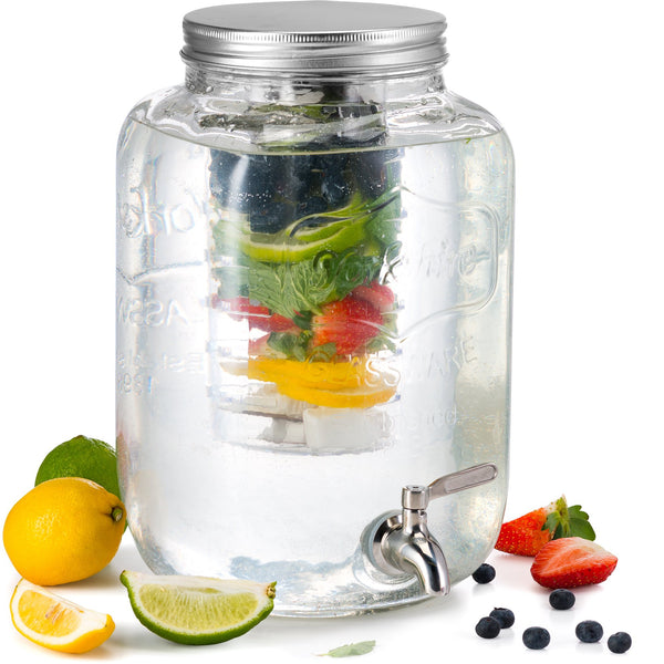 Glass Beverage Dispenser with Fruit & Ice Infuser, 2 Gallon-Glass & Bar-Kook-kook