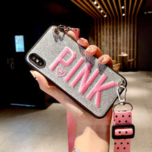 Load image into Gallery viewer, PINK Glitter Embroidery Crossbody iPhone Case