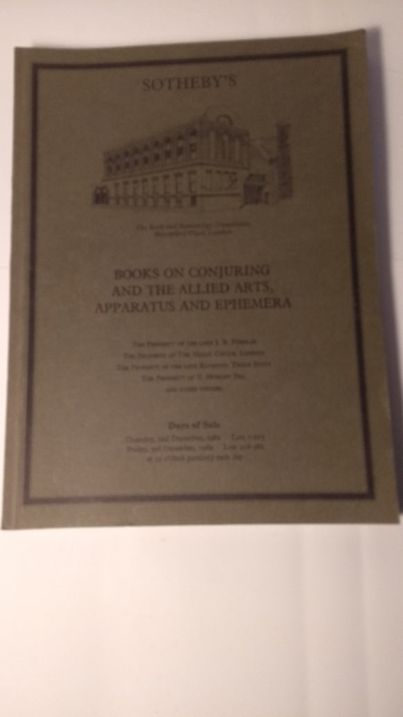 Sotheby's catalogue - books on Conjuring and the Allied Arts... Findlay and others