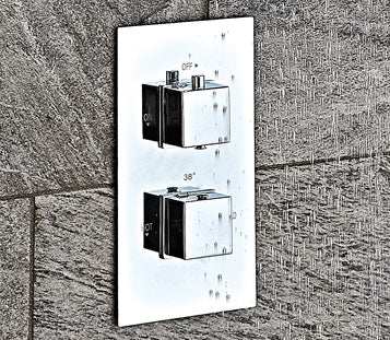 Twin Square Concealed Valve with Diverter