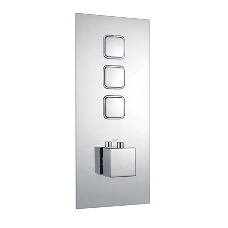 Triple Square Push Button Concealed Valve