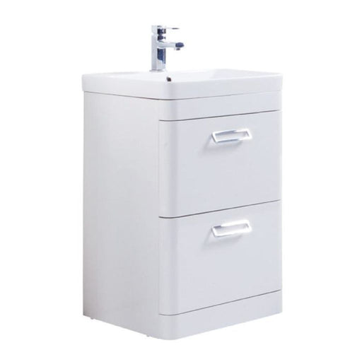 Metro Floor Standing Drawer Unit with Ceramic Basin - White