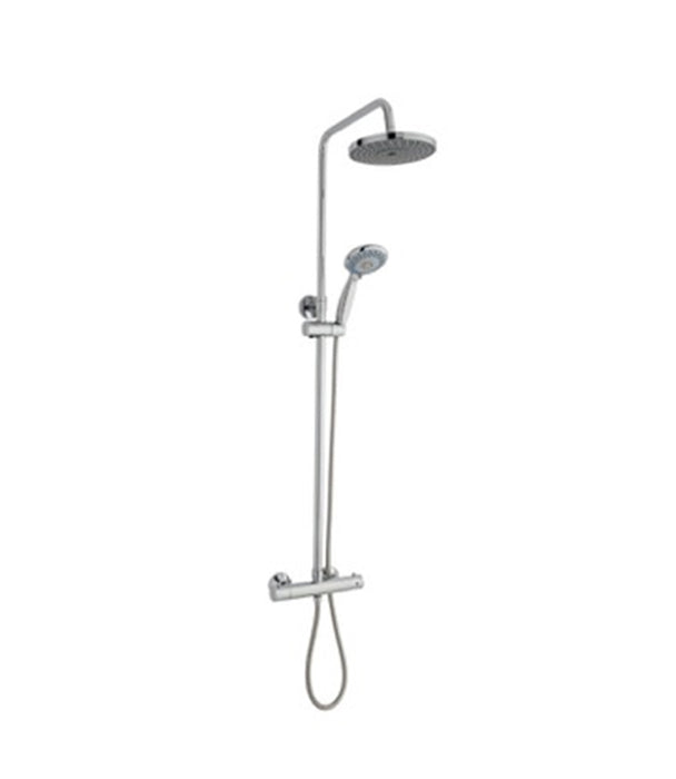 Thermostatic Exposed Bar Shower With Overhead Drencher and Sliding Handset