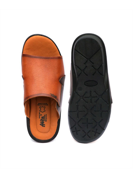 COSTA - 1004 TAN+BROWN LEATHER SLIPPERS
