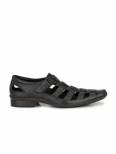 REBA - 1611 BLACK LEATHER SANDAL