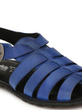 HAVEIT - 3404 BLUE LEATHER SANDALS FOR MEN