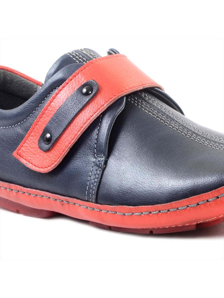 DRIVING - 374 BLUE+RED LEATHER SHOES