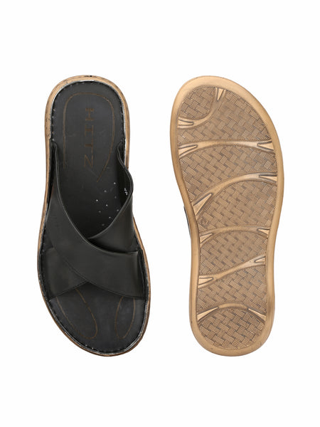 CARRY - 401 BLACK LEATHER SLIPPERS