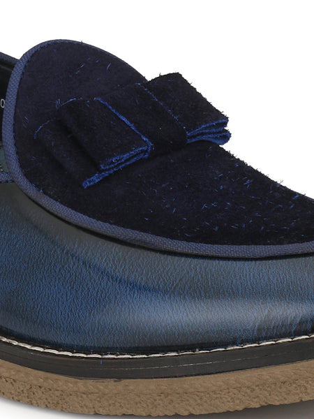 HANDCRAFT - 4857 BLUE LEATHER SHOES