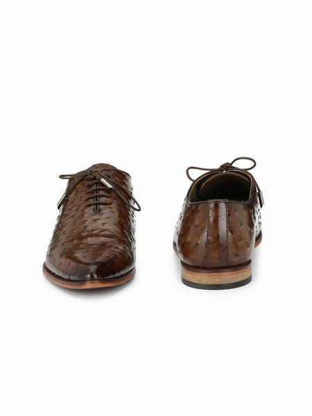 POINTY - 6003 BROWN OSTRICH LEATHER SHOES
