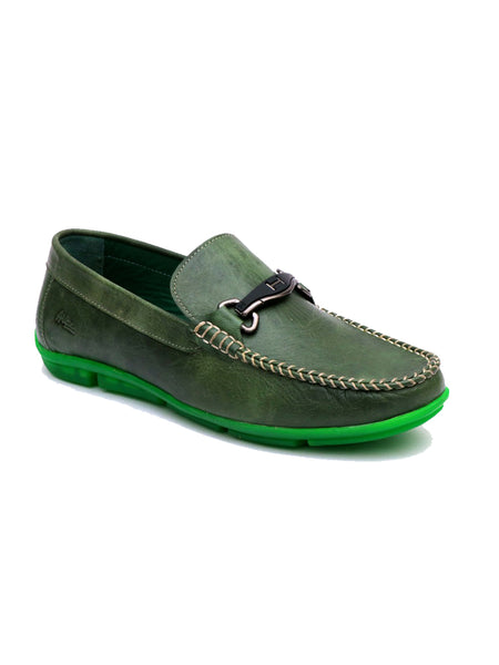 LOAFER - 6129 GREEN LEATHER SHOES