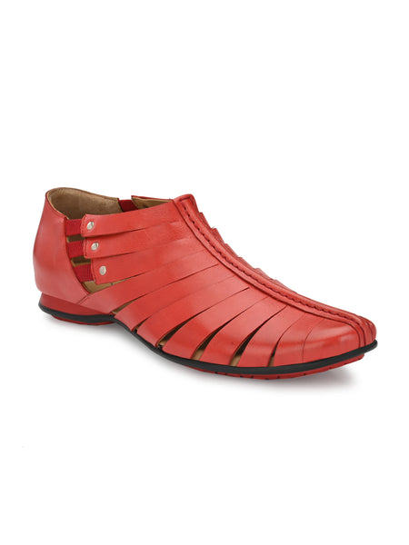 PAVERS - 7810 RED LEATHER SANDALS
