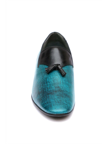 PISTOL - 7902 BLUE LEATHER SHOES
