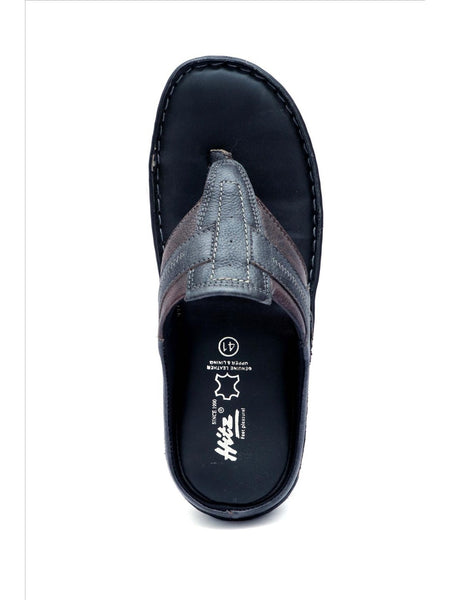 NEW DRAGON - 9220 BLACK+BROWN LEATHER SLIPPERS