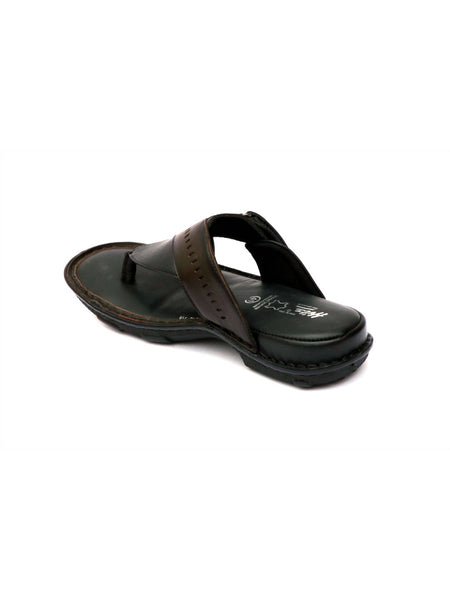 NEW DRAGON - 9234 BLACK+BROWN LEATHER SLIPPERS