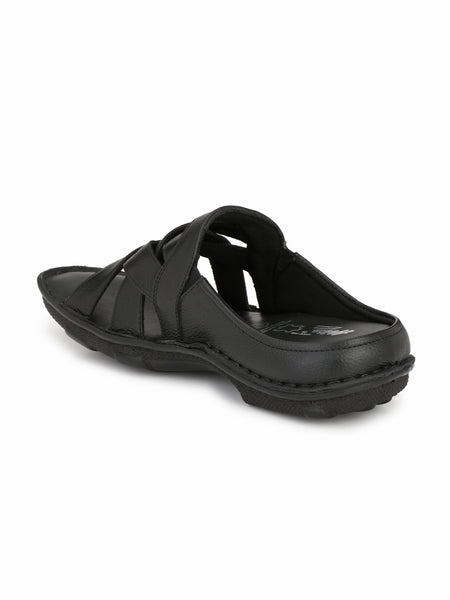 DRAGON	 - 9295 BLACK LEATHER SLIPPERS