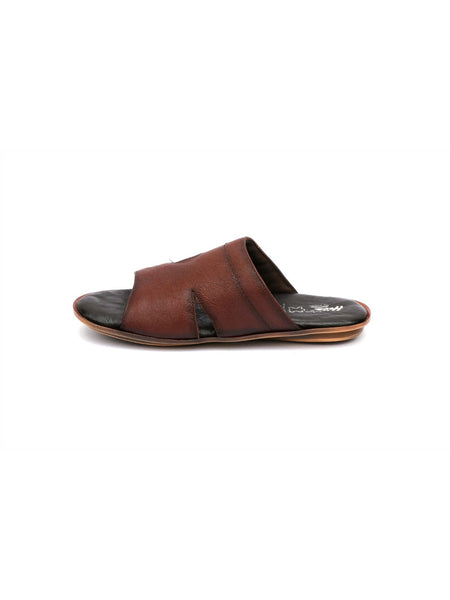 CROODS - 9604 BROWN+BLACK LEATHER SLIPPERS