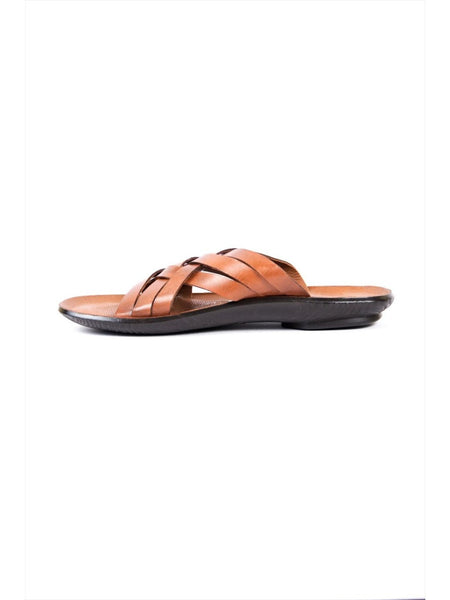 MARCOS - 9775 TAN LEATHER SLIPPERS