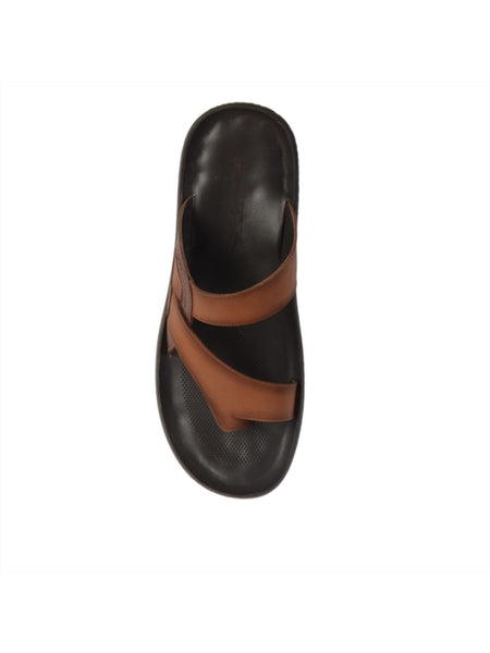 MARCOS - 9794 TAN+BROWN LEATHER SLIPPERS