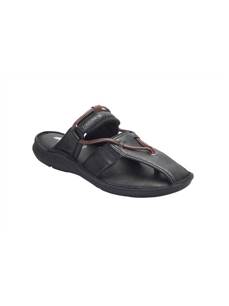 PELLEGRINI - 9804 BLACK+BROWN LEATHER SLIPPERS