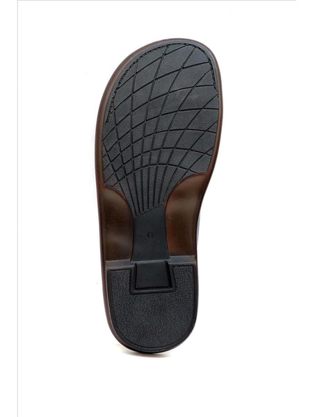 GOOGLE - 9852 BLACK LEATHER SLIPPERS