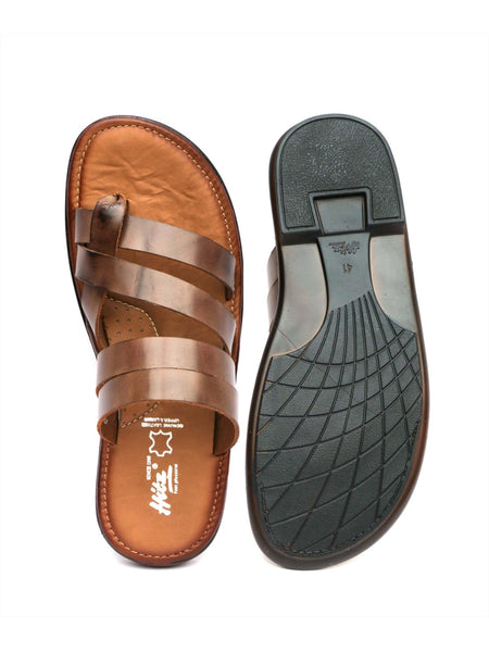 GOOGLE - 9855 BROWN LEATHER SLIPPERS