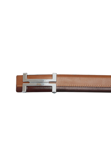 BS-3017 TAN+BROWN LEATHER BELT