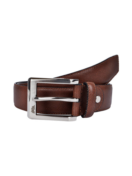 CFTD-SAFFIANO BROWN LEATHER BELTS