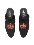 6312 BLACK RED EMBROIDERED MULES FOR MEN
