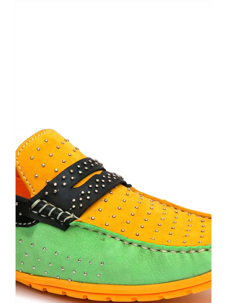 FLIPY F-51 GREEN+YELLOW LEATHER SHOES