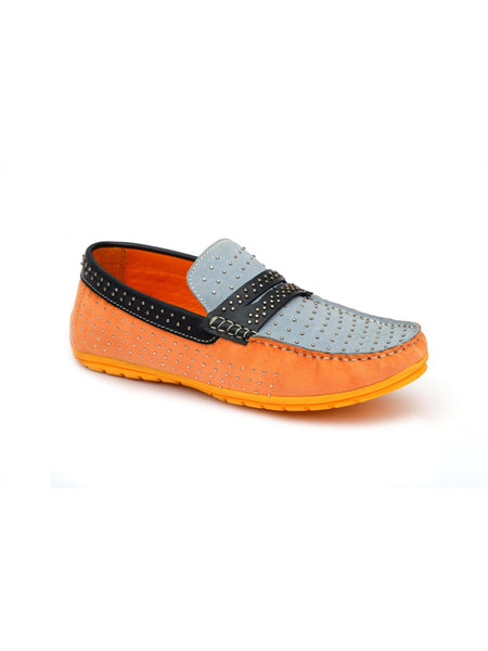 FLIPY F-51 ORANGE+GREY LEATHER SHOES