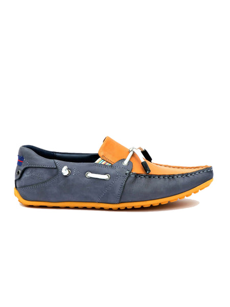 FLIPY F-6 BLUE+TAN LEATHER SHOES