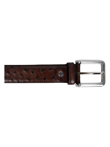 OSTRICH BROWN LEATHER BELTS