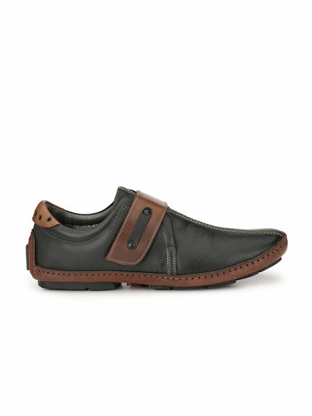 DRIVING - 374 BLACK+BROWN LEATHER SHOES