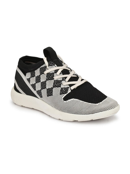 SPORTY  S-6 WHITE+BLACK LEATHER SHOES