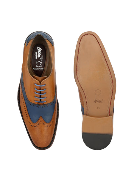 DIAMOND - 7101 TAN+BLUE LEATHER SHOES