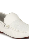 DRIVING - 376 WHITE LEATHER LOAFERS