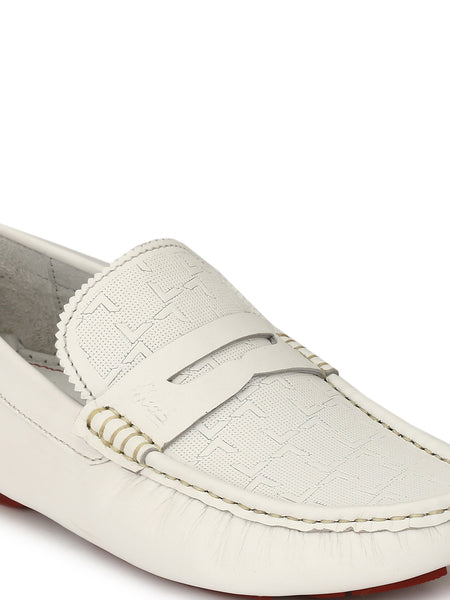 DRIVING - 373 WHITE LEATHER SHOES