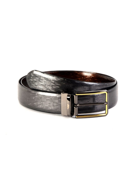 RB-5142B BLACK/BROWN LEATHER BELTS