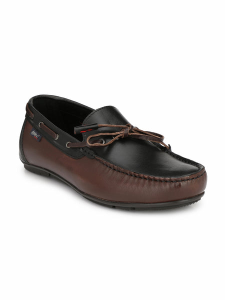 W-11 BROWN+BLACK LEATHER LOAFERS