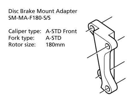 Shimano SM-MA-F180-SS Adapter 180mm Caliper: A-STD Front Mount: A-STD Front