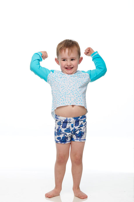 Boys Blue Liberty Dragon Swim Shorts