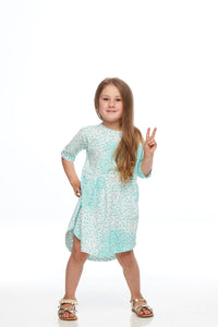 Girls Turquiose Leopard Print Dress