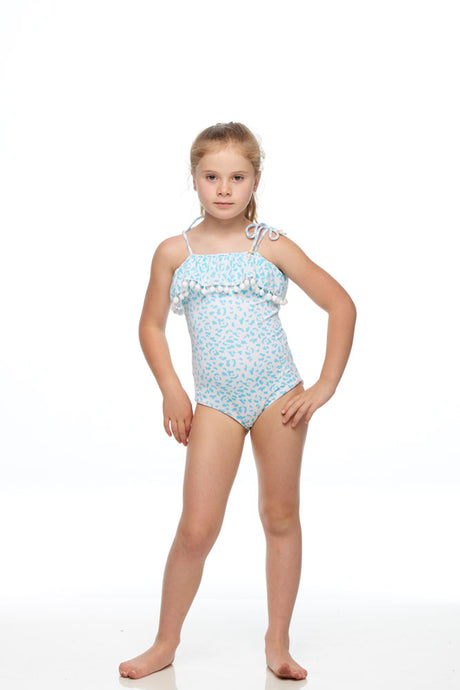 Isle Of White One Piece Swimmer Tuquoise Leopard