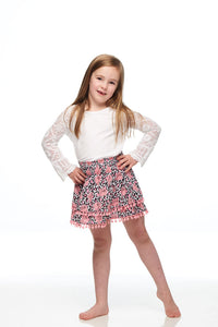 Girls Pink Unicorn Pompom Skirt